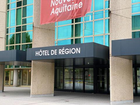 Entrance of the Hotel de Region of Nouvelle-Aquitaine region in Bordeaux, the Conseil Regional (regional council) headquarters