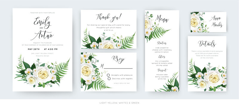 Vector watercolor floral wedding cards set: invite, thank you, menu, rsvp template. Yellow white roses, camellia flowers, dusty eucalyptus, green forest fern leaves, herbs botanical bouquet decoration