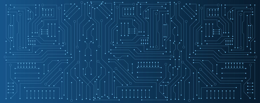 circuit board electronic or electrical line on blue engineering technology concept vector panorama background