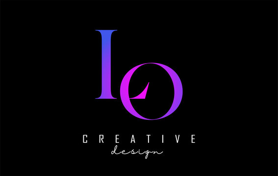 Colorful pink and blue LO l o letter design logo logotype concept with serif font and elegant style. Vector illustration icon with letters L and O.