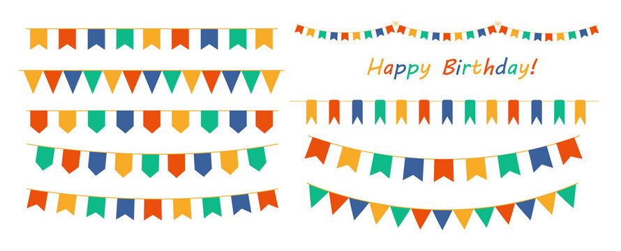 Multicolored buntings garlands. Decoration of greetings cards, invitations.