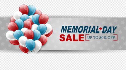 Fototapeta Memorial Day sale banner. Overlay design. Blue, red, and white balloons. Vector illustration.