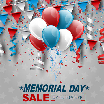 Memorial Day banner. Blue, red, and white USA national flag colors bunting and balloons. Vector illustration.