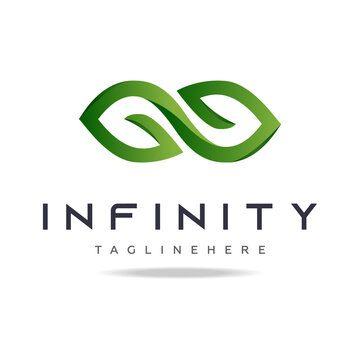 Abstract graphic logo green leaves infinity shape in white background.Design template nature icon,eco bio technology sign,organic symbol,natural cosmetics,vegan food,medical,health and care.Vector