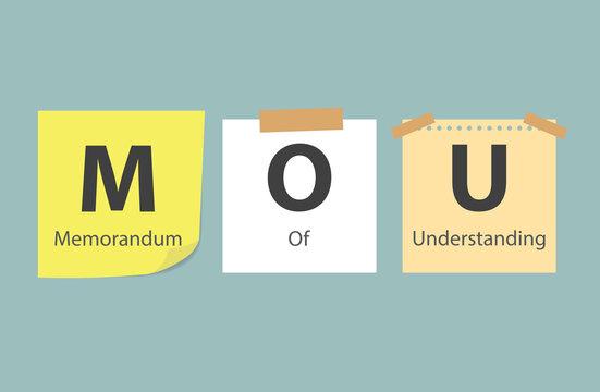 MOU Memorandum of Understanding written on memory papers- vector illustration