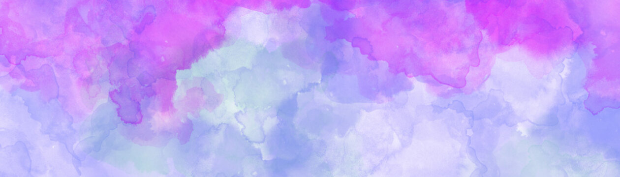 Blue pink and purple watercolor background texture in light pastel colors and blotches in colorful background illustration
