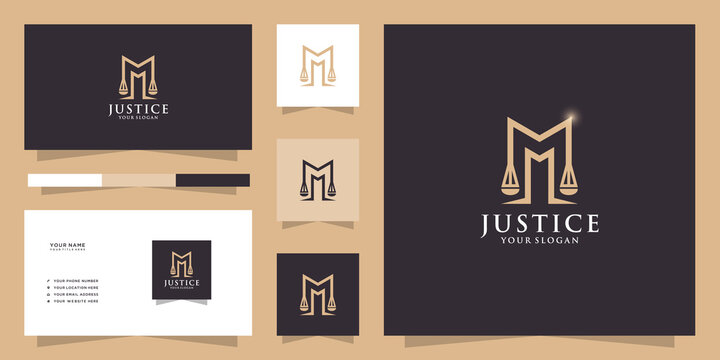 Letter m law logo and business card template