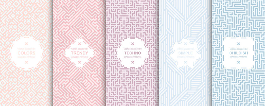 Set of elegant vector colorful seamless geometric patterns - striped delicate design. Vibrant fabric backgrounds, endless textures