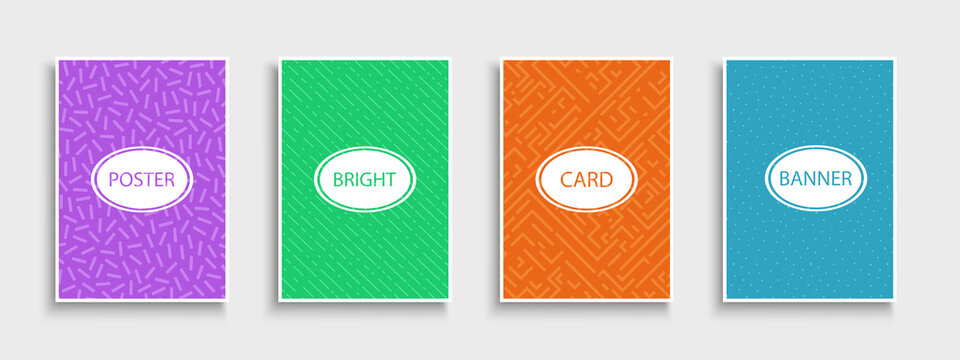 Set of trendy colorful posters, backgrounds, brochures, banners, templates, cards. Bright artistic covers. Retro design - fashion style - 80-90s
