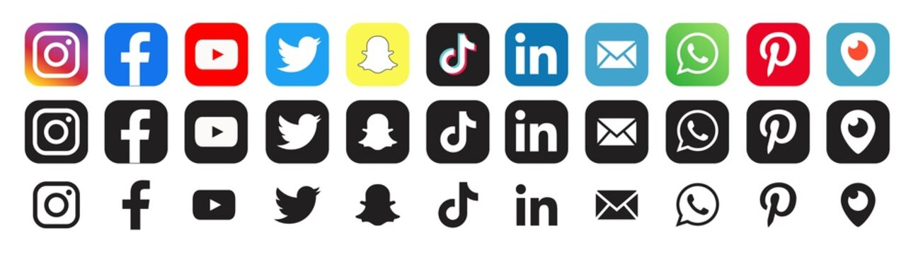 Facebook, twitter, instagram, youtube, snapchat, pinterest, whatsapp, linkedin, tiktok Collection social media logo