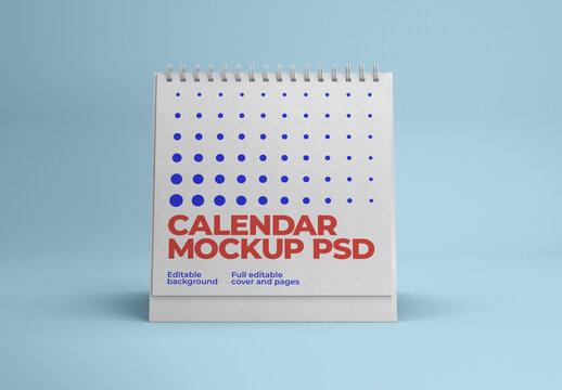 Square Desk Calendar Mockup