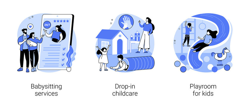 Childcare services abstract concept vector illustrations.