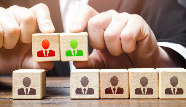 Businessman chooses a candidate for the team. Leadership and personnel management. Hiring qualified professional staff. Adapting to changes in leadership positions. Business team building.