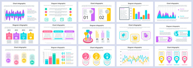 Obraz Bundle business and finance infographics presentation slides template. Different charts, diagrams, workflow, flowchart, timeline, schemes design template. Vector info graphic and infographics set. - fototapety do salonu