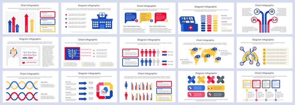 Bundle medical services infographics presentation slides template. Different charts, diagram, workflow, flowchart, healthcare icons, medicine design template. Vector info graphic and infographics set.