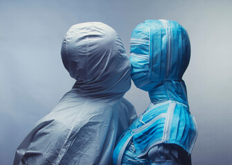 Man and Woman in medical  protection.  Surreal concept art.