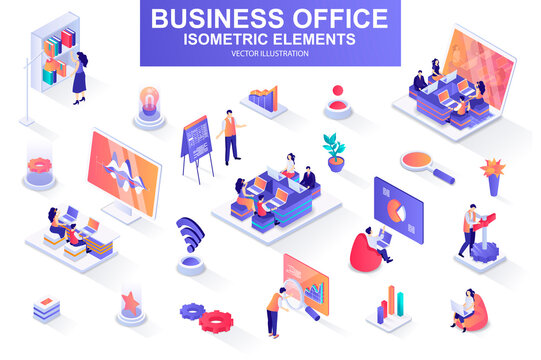 Business office bundle of isometric elements.