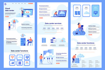 Fototapeta Cloud data center flat landing page. Database storage, online computing resources corporate website design. Web banner with header, middle content, footer. Vector illustration with people characters.