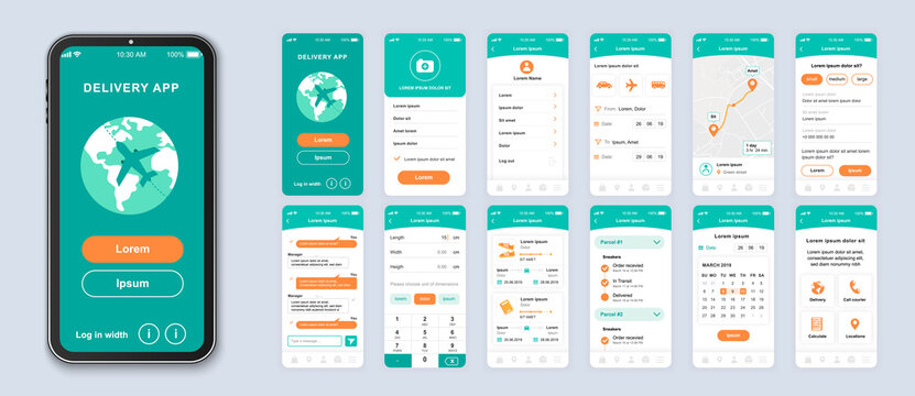 Delivery smartphone interface vector templates set. Mobile app page green design layout. Pack of UI, UX, GUI screens for application. Phone display. Worldwide parcel shipping web design kit