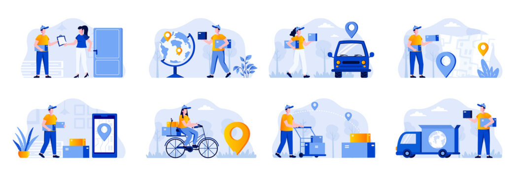Delivery scenes bundle with people characters. Online order and couriers delivery at home, global shipping and local distribution, logistics situations. Express delivery flat vector illustration.