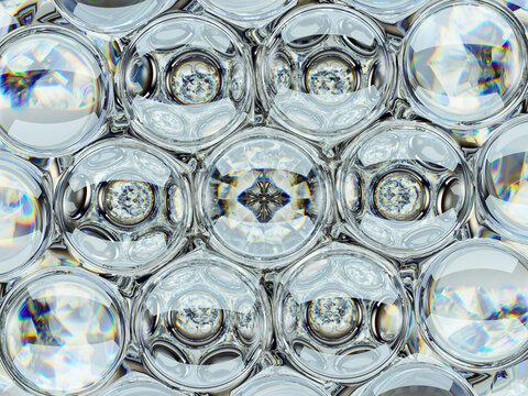 Diamond gemstone shine glass sphere bubbles pattern kaleidoscope background