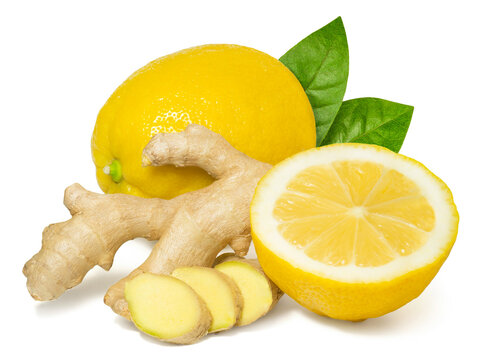 Fresh fragrant healthy ginger and lemon isolated on white background