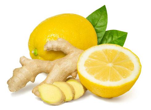 Fresh fragrant healthy ginger and lemon isolated on white background
