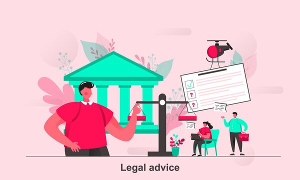 Legal advice web concept in flat style. Notary lawyer or judge consultation scene visualization. Representation in court proceeding. Vector illustration with tiny people characters in life situation.