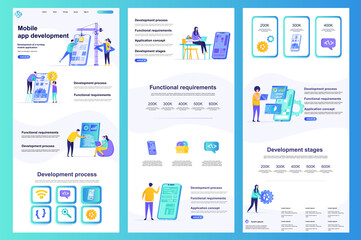 Fototapeta Mobile app development flat landing page. Smartphone application construct and testing corporate website. Web banner with header, middle content, footer. Vector illustration with people characters.