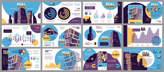 Obraz Real estate presentation slides templates from infographic elements and vector illustration. Can be used for presentation real estate agency, brochure, marketing, annual report, banner, booklet. - fototapety do salonu