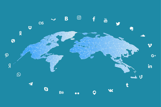 . Chernivtsi. Ukraine - April 19. 2021. . The concept of worldwide communication through social networks. Figures of people on the world map connected by a virtual network.
