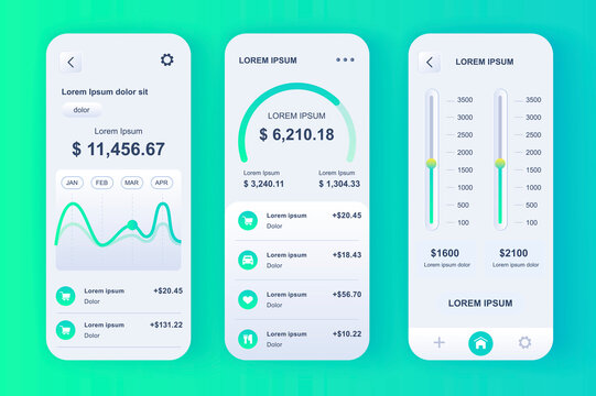 Smart finance manager neomorphic design kit. Bank accounts monitoring, budgeting app, financial planning and limits settings. Online banking UI, UX template set. GUI for responsive mobile application.