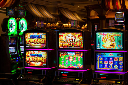 Las Vegas, Nevada, USA, March 10, 2020: Casino machines in the entertainment area at night waiting for gamblers to come, play and bet