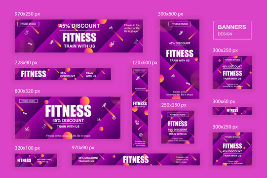 Collection web banners different sizes for mobile and social networks, skyscraper ad, side banner, mobile leaderboard, half page ad, billboard. Bundle banners for product promo, fitness club, GYM.