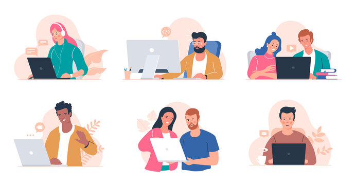 People working at the computer. Men and women with laptop - freelance, online training, email checking, webinar. Young people in the office. Remote work. Illustration collection isolated on white.