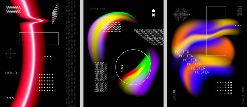 Vector illustration. Abstract liquid colorful shapes collection isolated on black geometric background. Modern art. Design elements for poster, book cover, brochure, magazine, flyer, booklet, layout