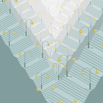 Surreal isometric vector illustration of many levels of grey stairs becoming paler on each level and lanterns with yellow light standing on stands