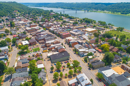 Aerial View of Historic Madison Indiana on the Ohio River