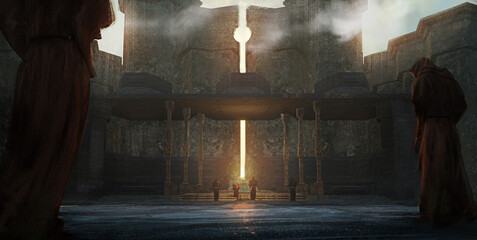 Fototapeta Digital fantasy painting of a group of worshipers at a sun temple conducting a ritual - 3D Illustration