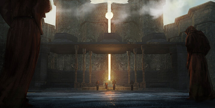 Digital fantasy painting of a group of worshipers at a sun temple conducting a ritual - 3D Illustration