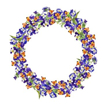 A Vector Wreath Image of Pansies