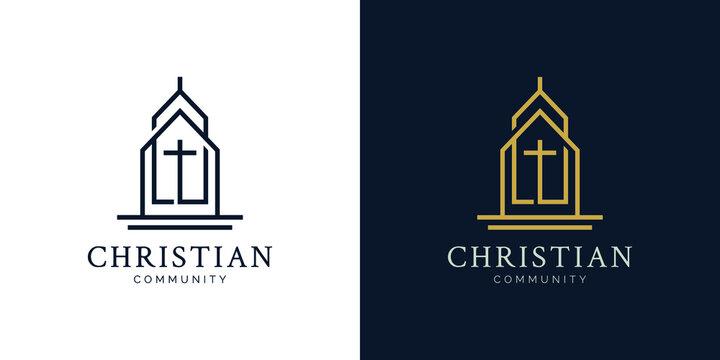 Illustrations of church logo design concept