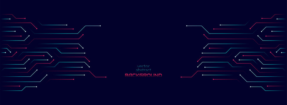 Vector abstract background on the theme of digital technology, future, cyberpunk. Dark blue background with bright blue lines computer elements. Banner template design for web, copyspace.