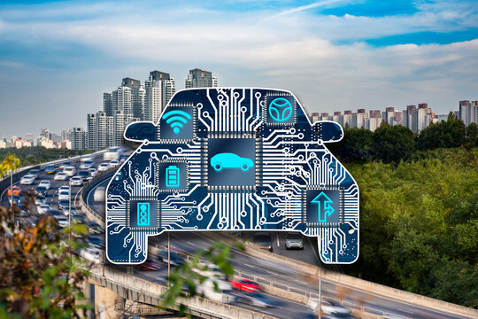 Fast moving cars and modern city background. Automobile chip illustration and several icons.