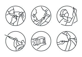 Obraz Vaccination icons in round format and editable vector line style - fototapety do salonu