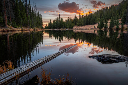 Lake Irene Sunset off of Trail Ridge Road in Rocky Mountain National Park, Colorado, USA