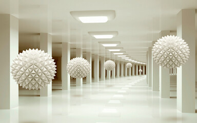 Fototapeta white corridor in a room