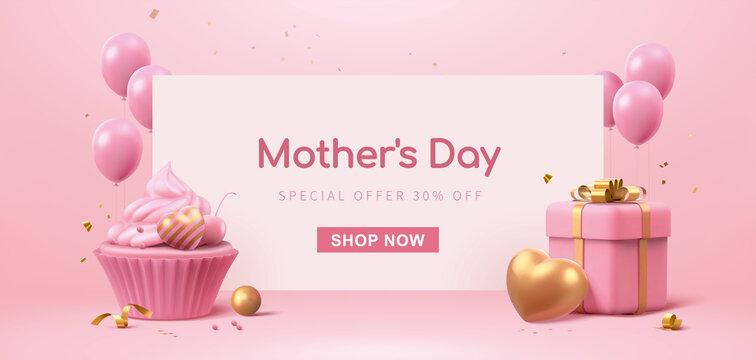 3d minimal pink celebration banner