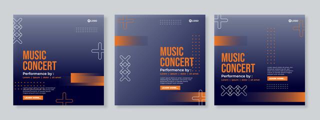 Music banner for social media post template vector