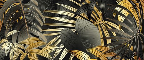 Luxury gold tropical leaves background vector. Wallpaper design with golden line art texture from palm leaves, Jungle leaves, monstera leaf, exotic botanical floral pattern. Wall mural